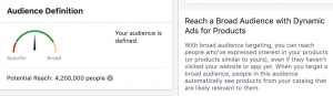 Audience Reach for Facebook Catalog Sales